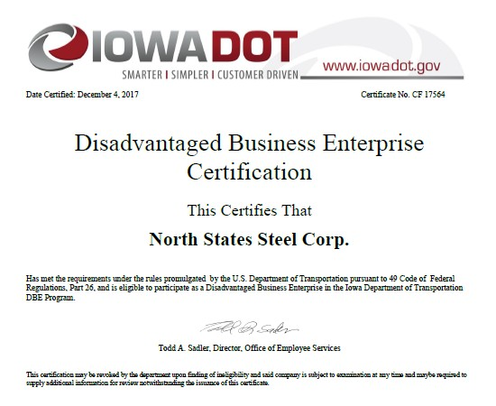 Iowa DBE Certification IA