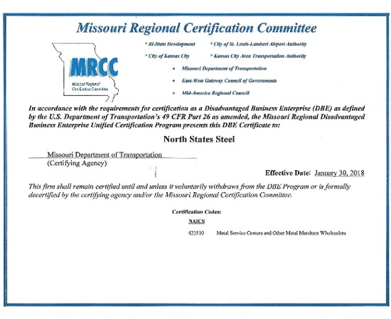 Missouri DBE Certification MO